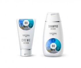 Shampoo and cosmetic brand design vector 07