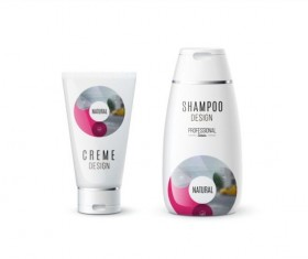 Shampoo and cosmetic brand design vector 08
