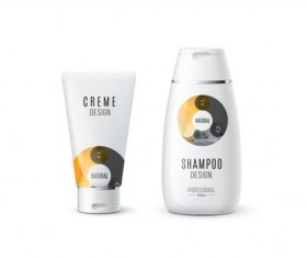 Shampoo and cosmetic brand design vector 09