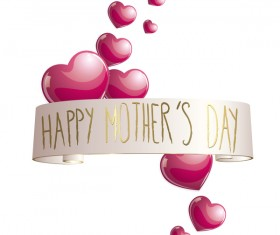 Shiny pink heart with mothers day banners vector 03
