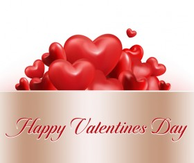 Shiny red heart with valentine cards vector material