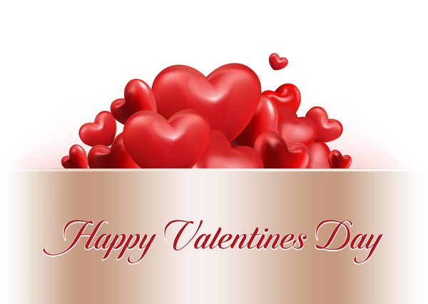 Shiny red heart with valentine cards vector material Vector Card – Download Valentine Card