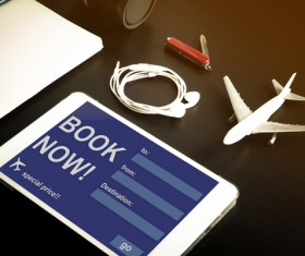 Smart phone data lines and model aircraft Stock Photo