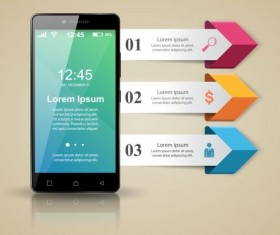 Smartphones with option infographic vector template 01