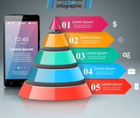Smartphones with option infographic vector template 03