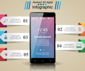 Smartphones with option infographic vector template 05