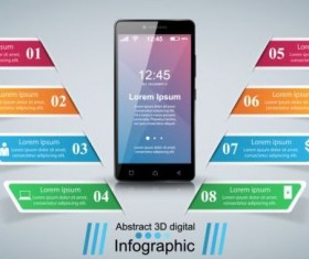 Smartphones with option infographic vector template 06