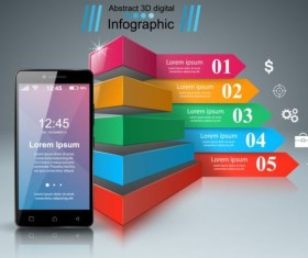 Smartphones with option infographic vector template 09