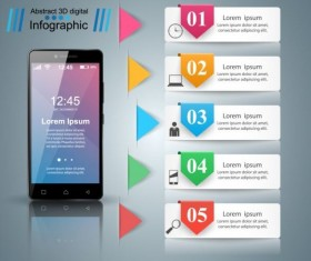Smartphones with option infographic vector template 10