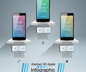 Smartphones with option infographic vector template 11