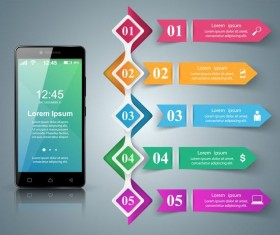 Smartphones with option infographic vector template 14