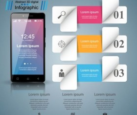 Smartphones with option infographic vector template 15