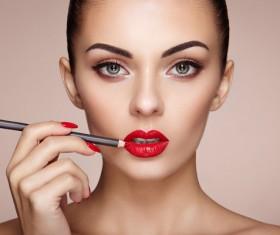 Smear lipstick woman HD picture 01