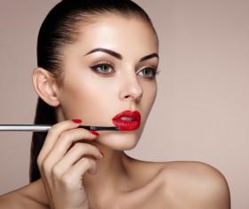 Smear lipstick woman HD picture 02