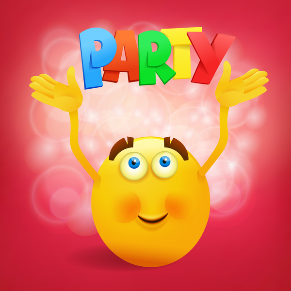 Smiley emoticon yellow face with party vector 01