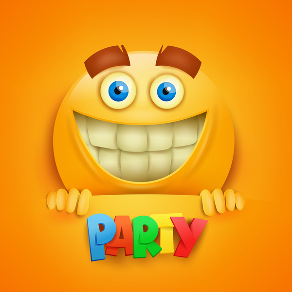 Smiley emoticon yellow face with party vector 02