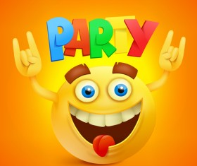 Smiley emoticon yellow face with party vector 03