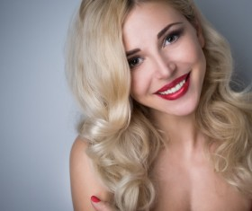 Smiling blonde charming girl HD picture