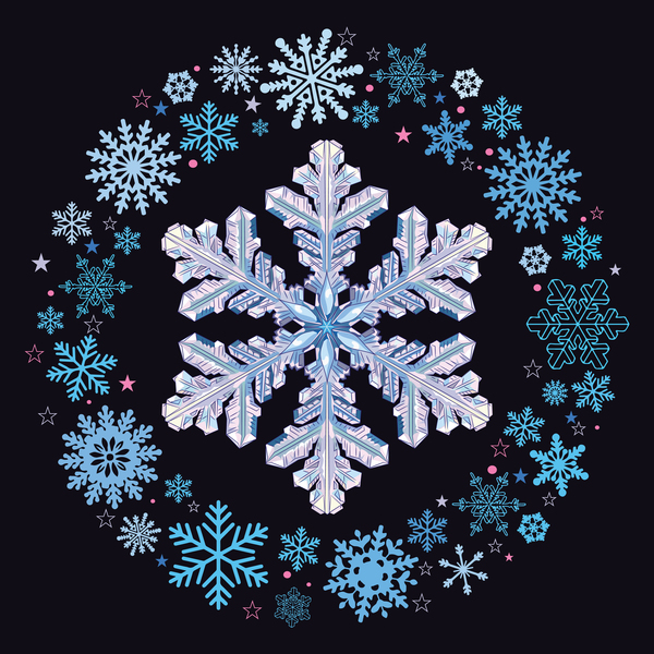 Snowflake shape with snow frame on black background vector 02