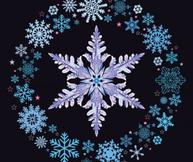 Snowflake shape with snow frame on black background vector 03