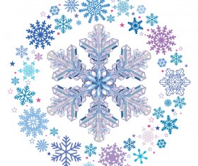 Snowflake with snow frame on white background vector 01