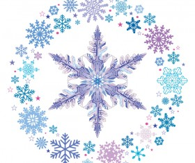 Snowflake with snow frame on white background vector 02