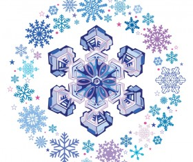 Snowflake with snow frame on white background vector 03