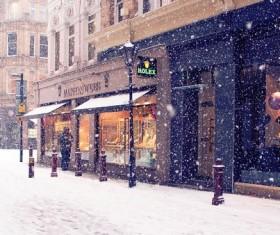Snowy city streets Stock Photo
