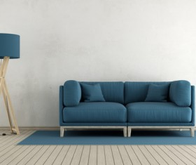 Sofa and floor lamp Stock Photo