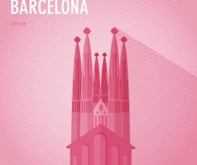 Spain darcelona monuments vector