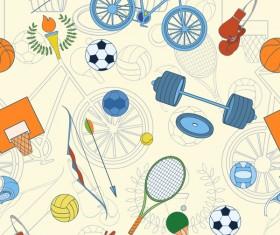 Sport elements seamless pattern vectors 01