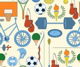 Sport elements seamless pattern vectors 02