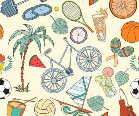 Sport elements seamless pattern vectors 04