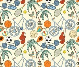 Sport elements seamless pattern vectors 07