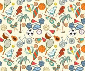 Sport elements seamless pattern vectors 08