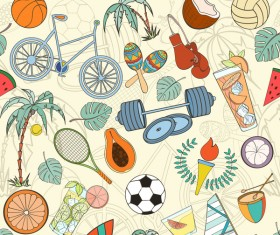 Sport elements seamless pattern vectors 10