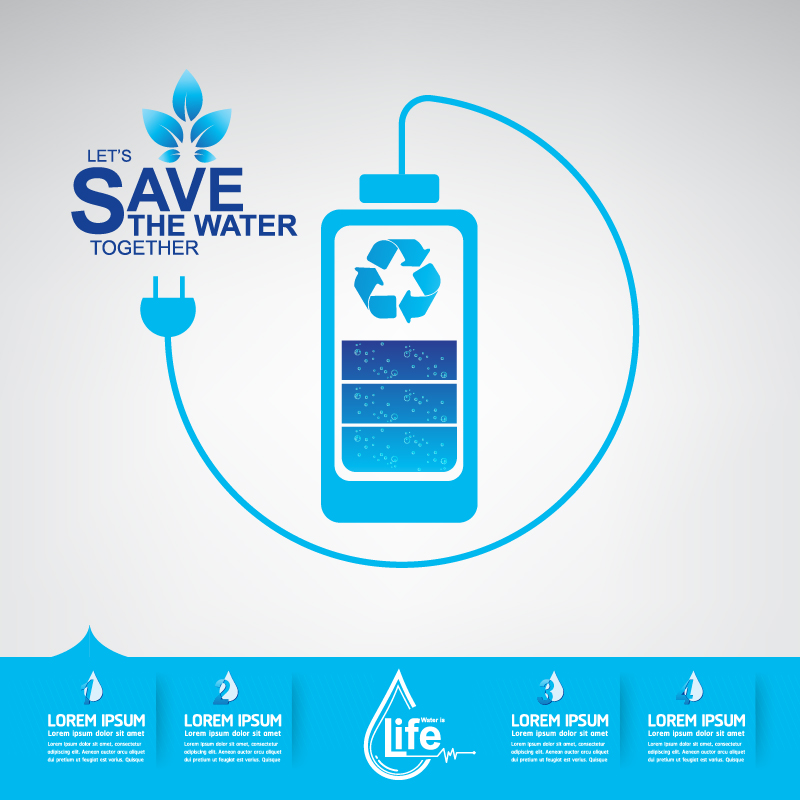Start now save the water infographic vector 02