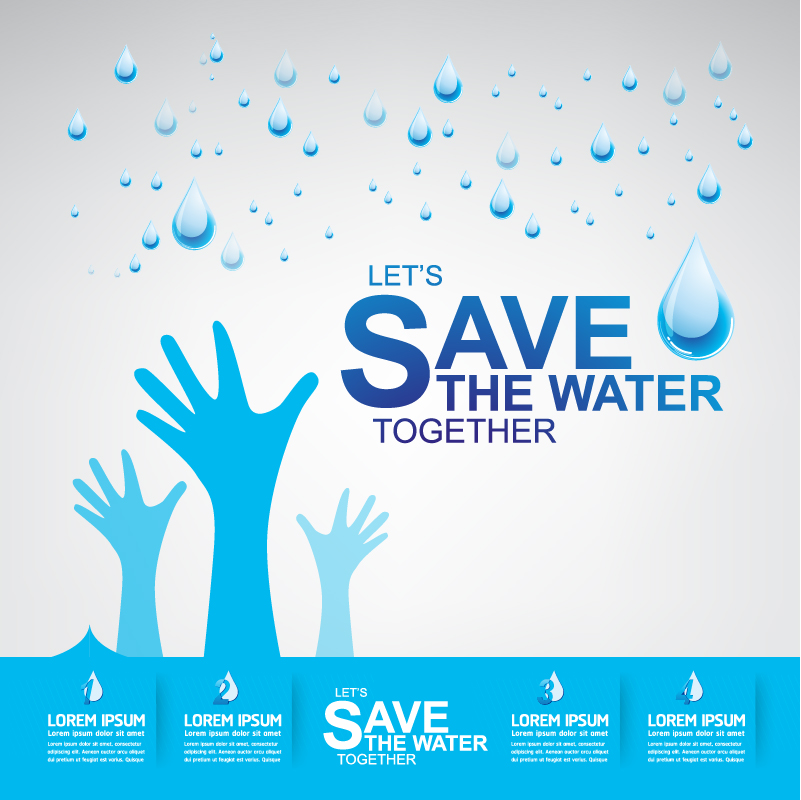 Start now save the water infographic vector 03