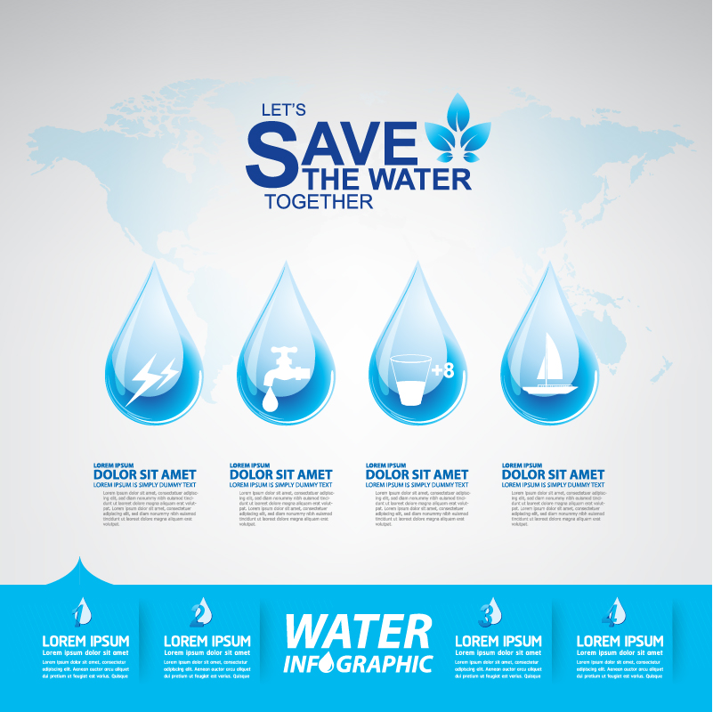 Start now save the water infographic vector 04
