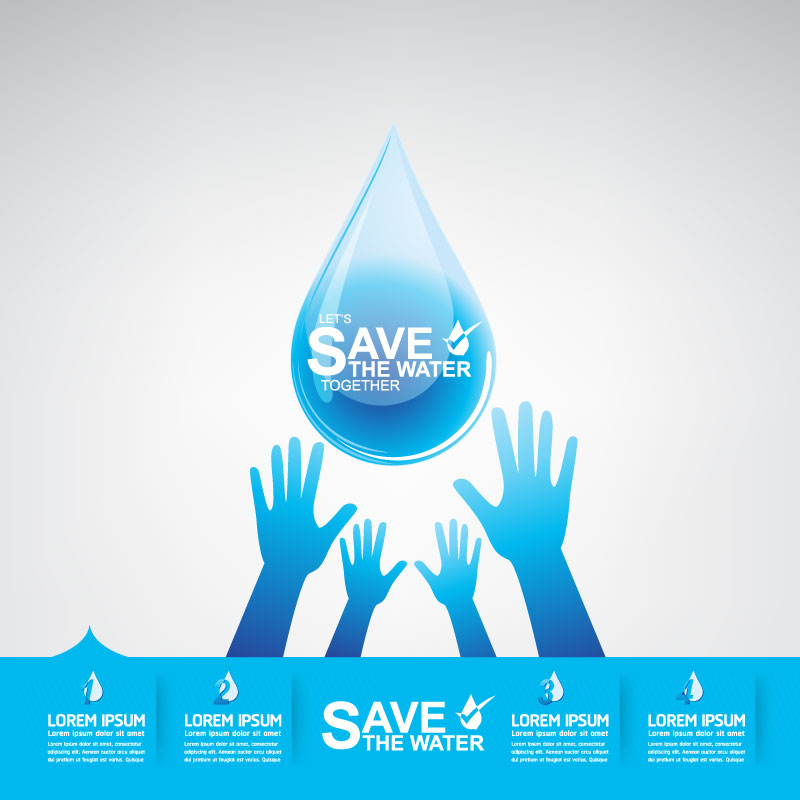 Start now save the water infographic vector 06