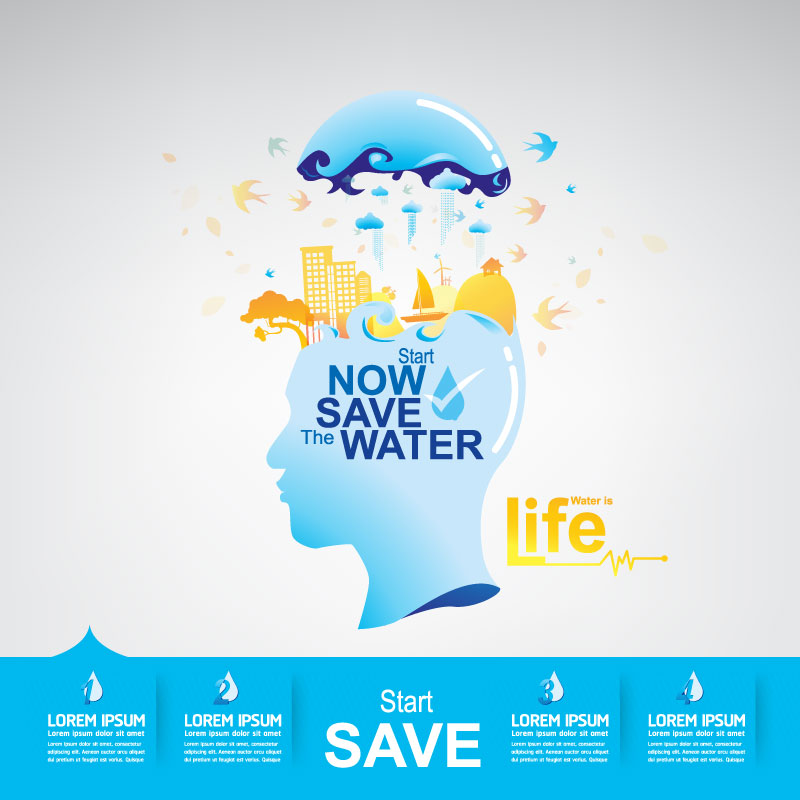Start now save the water infographic vector 18