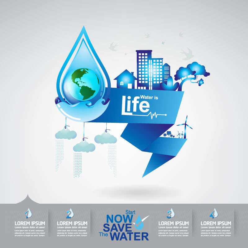 Start now save the water infographic vector 19
