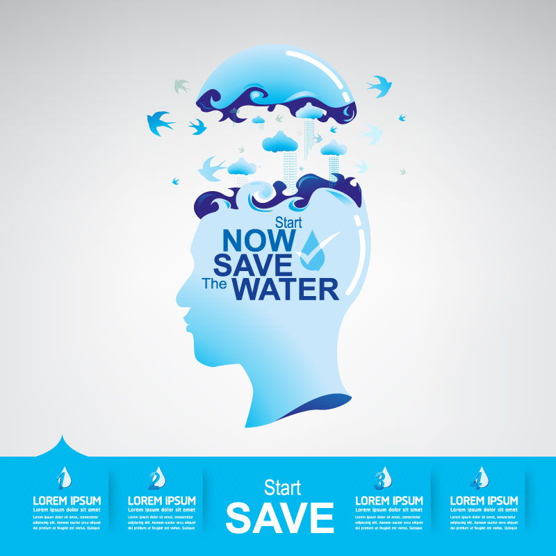 Start now save the water infographic vector 21