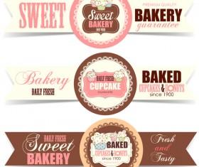 Sweet bakery badge vector banners 01