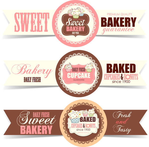 Sweet bakery badge vector banners 01