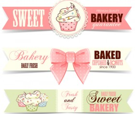 Sweet bakery badge vector banners 02