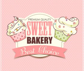 Sweet bakery labels with pink background vector