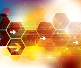 Technology elements with hexagon background vector 01