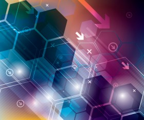 Technology elements with hexagon background vector 03