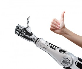 Thumbs up man with intelligent robot hand Stock Photo